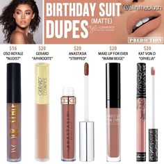 (@allintheblush) on Instagram: BIRTHDAY SUIT DUPES Some more recent posts from here may not be exact dupes, as they are via predictions and comparing swatches from Kylie.