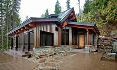 Concrete Floored Abode - a cabin on Lake Wenatchee - contemporary - patio - seattle - Gelotte Hommas Architecture, single story, large windows Metal Barn Homes, Pole Barn Homes, Metal Roof, Metal Homes Plans, Pole Barns, Metal Building Kits, Building A House, Building Ideas, Metal Building Homes Cost