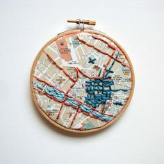 Embroidered Map Hoop Art of Florence Italy by yinsteadofi on Etsy, $22.00