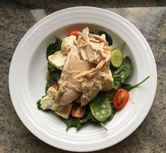 Warm chicken salad with steamed zucchini, cauliflower & grape tomatoes.