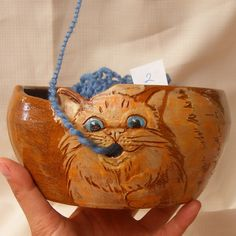 Yarn bowl, Ceramic yarn bowl number 2,  Bowl with engraved cat. $42.00, via Etsy.