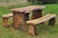 Rustic, wooden garden furniture built from solid slabs of Scottish timber, designed and manufactured in our own workshop > Browse our range today! Wooden Garden Furniture, Outdoor Furniture Design, Log Furniture, Farmhouse Furniture, Colorful Furniture, Wood Log Crafts, Wooden Projects, Homemade Furniture, Backyard Fences