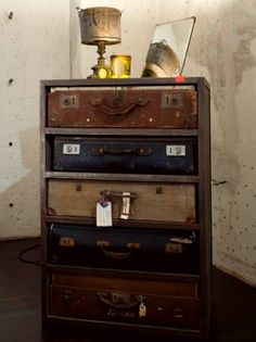 chest of drawers made from vintage suitcases
