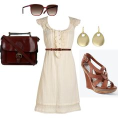 """Lace dress w/ tan and gold accents"" by maxcyk on Polyvore"