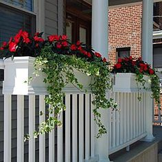 Deck Rail Planters, Porch Planters, Balcony Planters - Flower Window Boxes - About Garden and Flowers Deck Railing Planters, Front Porch Railings, Front Verandah, Balcony Planters, Deck Railings, Flower Planters, Deck Planter Boxes, Railing Ideas, Planters For Front Porch