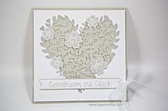 Hochzeits-Herzkarte mit Material von Stampin Up! - Thinlits Blühendes Herz