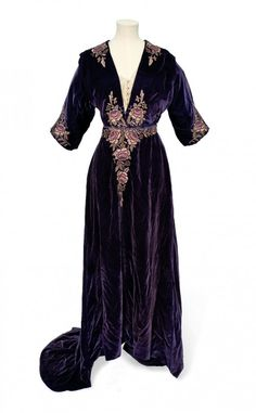 An Aesthetic movement dress of mauve silk velvet, Liberty, circa 1910.
