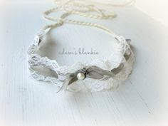 Avril - YOU Choose COLOR - Tie Back Open Halo Headband - Cream Ivory White Gray - Lace Bow Ribbon Pearl - Newborn Baby Girl Infant Adult on Etsy, $19.00