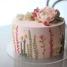 Birthday Cake With Flowers, Pretty Birthday Cakes, Pretty Cakes, Cute Cakes, Beautiful Cakes, Cake Birthday, Cake Flowers, Happy Birthday, Birthday Ideas