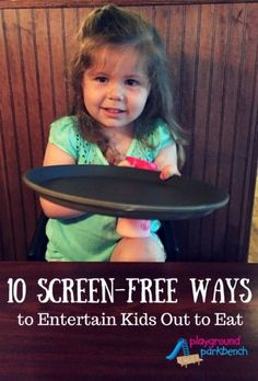 Put the screens away - it's time for dinner!  Dinner time is the opportunity for quality family time.  See 10 ways we keep our toddler and preschooler entertained while out to eat at a restaurant without handing out smart phones and iPads