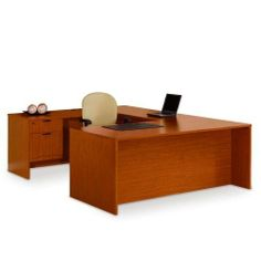 National Office Furniture UDesk with Left Bridge by National Office Furniture. $1329.00. UDesk with Left Bridge brings a fresh, clean look to your office. Durable yet affordable, this Left UDesk has ample worksurface area for any task. Naturallooking wood grain laminate in rich Amber Cherry, Mocha, and Cordovan finishes.Features two fully extending file drawers with locks. Kneespace room is 547/8''W. Optional keyboard tray available. Ships fully assembled.This product has been Le...