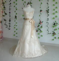 handmade champagne lace gown