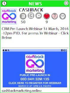 We are proud to announce the upcoming pre-launch of #Cashback Marketing (CBM), where every member has the chance to earn commissions and Family Bonuses for FREE!