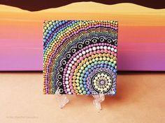 Pintura de arco iris, acrílico pintar sobre lienzo Junta, originales pintados a mano, arte aborigen Dot, 10 cm x 10 cm, arco iris decoración...