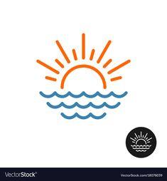 Sun rays and sea waves logo vector image on VectorStock Rays Logo, Logo Inspiration, Logos Photography, Sea Logo, Logos Vintage, Logo Floral, Dance Logo, Waves Icon, Film Logo