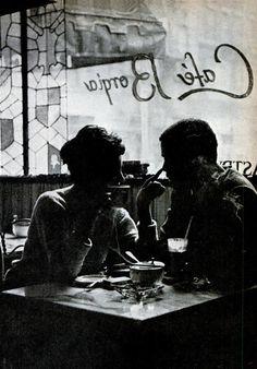 vintage flirt at Café Borgia. Cafe, silhouette by Youp Laboum. #westvillage #nyc