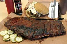 The slab of ribs and Carolina-style pulled pork sandwich at Joe's Kansas City Bar-B-Que, 3002 W. 47th St.