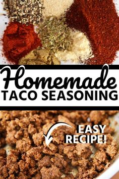 Homemade taco seasoning recipe that is a healthy and delicious alternative to the store-bought version. You can pronounce all the ingredients and know exactly what you are eating. Taco Seasoning Easy, Seasoning Mixes, Mexican Dishes, Mexican Food Recipes, Drink Recipes, Veggie Main Dishes, Side Dishes, Yummy Taco, Dinner With Ground Beef