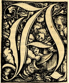 Initial letter A with four singing children holding musical scores; from an incomplete Roman majuscule alphabet first used in a 'Graduale Speciale' printed by Thomas Wolff in Basel on 8 March 1521.  1521  Metalcut