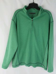 Pebble Beach Men's Performance Long Sleeve Sweater Size Medium Green 1/2 Zip  #PebbleBeach #12Zip