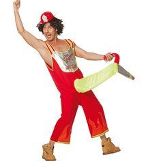 Fire fighter kostuum voor heren. Grappig brandweer kostuum met een brandweerslang. Met dit brandweer kostuum maakt u zeker een onvergetelijke indruk. Carnavalskleding 2015 #carnaval