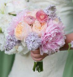 lilac, peony, ranunculus wedding bouquet