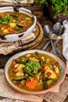 Satisfying, hearty, and delicious, this oil-free French Vegetable Soup (Soupe au Pistou) brings light, savory, and vibrantly flavors. #wholefoodplantbased #vegan #oilfree #glutenfree #plantbased | monkeyandmekitchenadventures.com