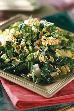 Add bite to a simple salad by crumbling uncooked ramen noodles over bok choy, a Chinese white cabbage. Bok Choy Salad, Recipe Girl, Food Stamps, Easy Entertaining, Ramen Noodles, Easy Salads, Cooking Recipes, Drink Recipes, Winter Food