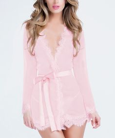 Look what I found on #zulily! Pink Sheer Provence Robe & G-String - Women & Plus #zulilyfinds