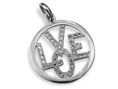 "Colgante en plata rodiada con la palabra ""Love"" €40,00 / Rhodium-plated Lannel pendant with word ""Love"" $52.00"