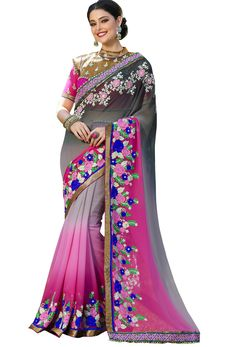 Shop grey,pink georgette designer saree ,  freeshipping all over the world , Item code srcev24
