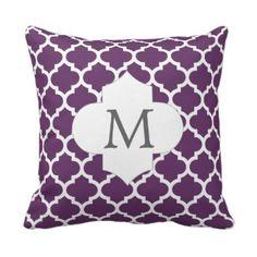 personalized purple quatrefoil monogram design throw pillow