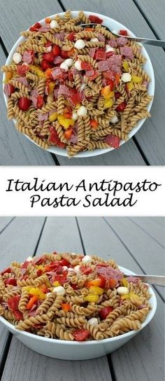Salty, spicy Italian antipasto fixings are paired with fresh veggies and whole wheat pasta to create an Italian Antipasto Pasta Salad, a delicious side that's also hearty enough to enjoy for lunch. Chopped Salad Recipes, Summer Salad Recipes, Salad Recipes For Dinner, Easy Pasta Recipes, Salad Dressing Recipes, Healthy Salad Recipes, Light Recipes, Vegetarian Recipes, Cooking Recipes