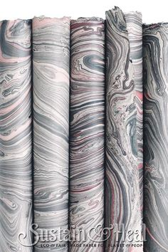 """Gray (usually a Taupe Gray) and Pink Handmade Fair Trade Marble Paper. Size 20x30"""" with natural deckle edge. Thin Text Weight and Thick cover weight available."""