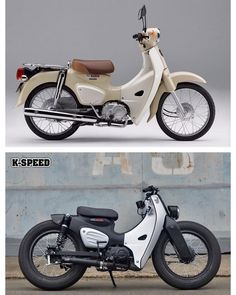 Honda commissioned Thailand-based motorcycle shop K-Speed to customize the 2018 Honda Super Cub for the retro motorcycle's launch. The shop's Super Power Honda Tiger, Honda Cub, Motorcycle Shop, Retro Motorcycle, Scooter Custom, Custom Bikes, Custom Cafe Racer, Mini Bike, Super Bikes