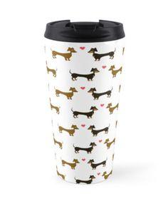 Dachshund Love by LaurasLovelies. Travel mug. Dachshund, sausage dog, wiener dog love heart