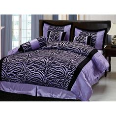 Lawson Purple and black zebra print is very popular with teen girls. This is a full purple and black zebra bedding set for any girls bedroom. Zebra Bedding, Purple Bedding, Black Bedding, Teen Bedding Sets, Luxury Bedding Sets, Teen Girl Bedrooms, Zebra Bedrooms, Bed Furniture, New Room