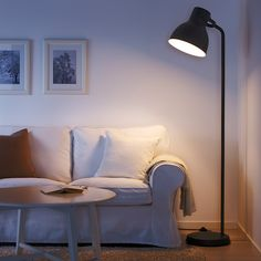HEKTAR Floor lamp with LED bulb, dark gray. The simple, oversized metal shape is inspired by old lamps from places like factories and theaters. Used together, HEKTAR lamps support different activities and create a unified, rustic look in the room. Hektar Ikea, Ikea Floor Lamp, Floor Lamps, Ikea Canada, Clear Light Bulbs, Decor Inspiration, Old Lamps, Standard Lamps, Spotlights