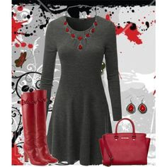 """""""Red Boots ♥"""" by gale-strother on Polyvore"""