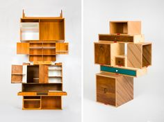 In an exhibition including the works of Gamper Martino along with other designers, a series of shelves, cupboards, and chairs were assembled in different w