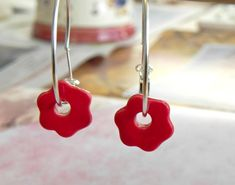 Red Flower Ceramic Earrings  Sterling Silver Plated by Ceraminic