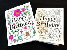 Print and color your own Happy Birthday cards! Set of (2) 4.25x5.5 Greeting cards on an 8.5x11 printable PDF zentangle coloring page. Simply print the page, color the design, fold the page in half (lengthwise), and then cut the paper between the two cards. (See images above). Fun for