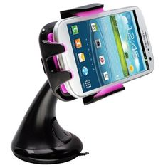 Intek I-Touch Button Car Windshield & Dashboard Mount for Iphone 4/4s/5/5c/5s, Galaxy S4/s3/s2, Galaxy Note 1/2/3 HTC One,/one X, Droid Razr...
