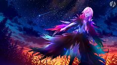 Anime picture with guilty crown production i.g yuzuriha inori siimeo baocaiwangfei long hair single highres open mouth wide image fringe pink hair cloud (clouds) eyes closed standing night night sky evening sunset outdoors Guilty Crown Wallpapers, Anime Manga, Anime Art, Production Ig, Inori Yuzuriha, Trinity Seven, Evening Sunset, Picture Collection, Night Skies