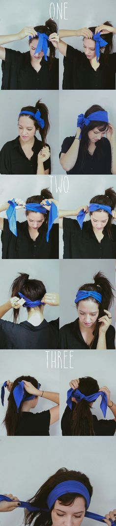 Hair Tutorial // 4 Ways To Tie The Head Scarf — Treasures & Travels Bandana Hairstyles, Cool Hairstyles, Hairband Hairstyle, Hair Turban, Curly Hair Styles, Natural Hair Styles, How To Wear Scarves, Hair Dos, Scarf Styles