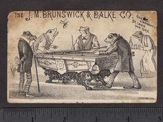 Circa 1880 J.m. Brunswick & Balke Co Chicago Frog Pool Table Billiards Bar Card