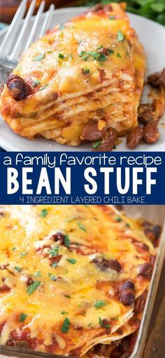 Bean Stuff Casserole - Crazy For Crust - this easy 4 ingredient casserole recipe is a family favorite. It's a great easy weeknight dinner! We've been eating it for generations and everyone loves it! Beef Recipes, Mexican Food Recipes, Vegetarian Recipes, Cooking Recipes, Recipies, Hamburger Recipes, Mexican Dishes, Leftover Chili Recipes, Hamburger Dip