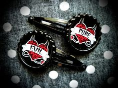 Pure Evil hair clips by LttleShopOfHorrors on Etsy