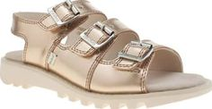 Kickers Gold Trisandal Womens Sandals Nail summer styling with the Trisandal from Kickers. Arriving in the colour of the moment, rose gold, the leather upper features functional buckle strap closures with embossed branding. A 2.5cm wedge  http://www.comparestoreprices.co.uk/january-2017-8/kickers-gold-trisandal-womens-sandals.asp