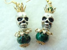 Halloween Skull Earrings. Skull King! Skull Topped by a Crown. Lovely Green Bead! FREE U.S. SHIPPING! Day of the Dead. Dia de los Muertos. by MuchAdoAboutJunkin on Etsy